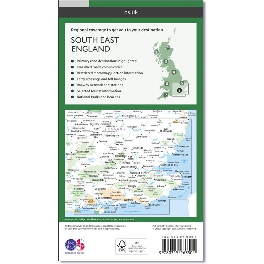 Road Map Of England And Scotland.Ordnance Survey Road Map 8 South East England